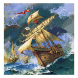 Christopher Columbus&#39;s Santa Maria Giclee Print by English School 