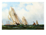 The 'sappho' Off Sandy Hook Lightship, 1870 Lámina giclée por Antonio Jacobsen