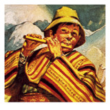 Peruvian Man Playing the Flute Giclee Print by English School 