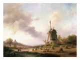 Harvesters in an Extensive Landscape, 1850 Giclee Print by Frederik Marianus Kruseman