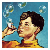 Boy Blowing Bubbles from a Pipe Giclee Print by  English School