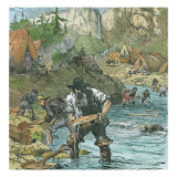 Gold Washing in California, from a Book Pub. 1896 Giclee Print by American School 