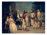 Sir Elijah and Lady Impey and their Three Children Reproduction procédé giclée par Johann Zoffany