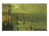 A View of Whitby Harbour by Moonlight Giclee Print by  Grimshaw