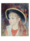 Portrait of a Young Girl in a Blue Hat, 1881 Giclee Print by Pierre-Auguste Renoir