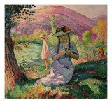 Young Girl Picking Flowers, 1910 Giclee Print by Henri Lebasque