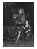 Self Portrait with His Son Charles Giclee Print by Antoine Coypel