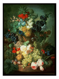 Still Life Mixed Flowers and Fruit with Bird's Nest Giclee Print by Jan van Os