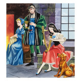 Snow White Playing the Harp for Her Father Giclee Print by Ron Embleton
