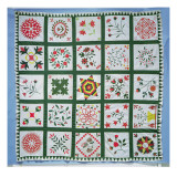 Album Quilt with Season Flowers, 1844 Giclee Print by  American School