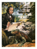 Charles Darwin on the Galapagos Islands Premium Giclee Print by Andrew Howat