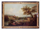 An Extensive River Landscape with a Village Giclee Print by Francesco Zuccarelli