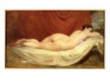 Nude Lying on a Sofa Against a Red Curtain Giclee Print by  Etty