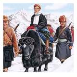 The Young Dalai Lama Fleeing the Chinese Reproduction procédé giclée par John Keay