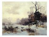 Crows in a Winter Landscape, 1907 Reproduction procédé giclée par Karl Kustner