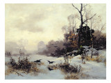 Crows in a Winter Landscape, 1907 Giclee Print by Karl Kustner