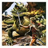 Siegfried's Battle with the Dragon Giclee Print by  Payne