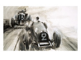 Tim Birkin Driving at Brooklands Giclee Print by Graham Coton