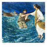 The Miracles of Jesus: Walking on Water Giclee Print by Clive Uptton