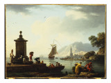 A View of the Harbour at Genoa, 1773 Giclee Print by Claude-Joseph Vernet