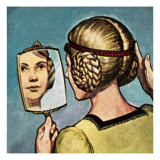Medieval Girl Looking into a Mirror Giclee Print by  English School