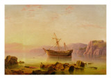 A Ship at Anchor in a Bay at Sunset Giclee Print by  Atkinson