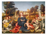 Virgin and Child and Angels, 1536-38 Giclee Print by Gregorio Lopez