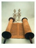 Torah Scroll with Silver Crown Finials Giclee Print by Jewish School