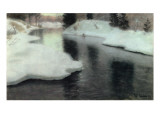 Thawing Ice on the Lysaker River, 1887 Giclee Print by  Thaulow