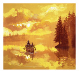 American Indians Transporting a White Man in a Canoe Giclee Print by  English School