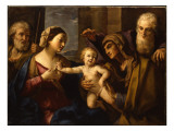 The Holy Family with Saints Elizabeth and Zacharias Giclée-tryk af Elisabetta Sirani