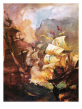 The Armada Being Destroyed by English Fire Ships Giclee Print by McConnell