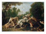 Dogs Fighting in a Wooded Clearing Giclee Print by Frans Snyders Or Snijders