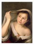 A Young Girl Raising Her Veil Giclee Print by Bartolome Esteban Murillo