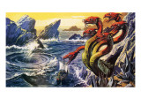 Scylla Attacking Olysseus's Ship Premium Giclee Print by  Payne