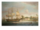 A Country Ship on the Hoogly Near Calcutta Premium Giclee Print by Thomas Whitcombe