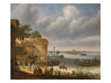 Peasants on the Beach with a Ferry Giclee Print by Adam Willaerts