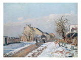 The Road from Gisors to Pontoise, Snow Effect, 1872 Giclee Print by Camille Pissarro