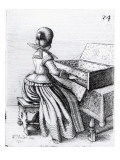 Woman Playing at a Keyboard, 1635 Lmina gicle por Wenceslaus Hollar