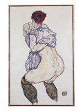 Mistress Halbakt with Green Stockings, 1917 Giclee-vedos tekijänä Schiele