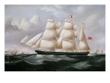 Clipper Barque &#39;Procymatia&#39; Off Dover Giclee Print by Richard B. Spencer