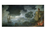 Evening, a Capriccio of a Moonlit Mediterranean Bay Giclee Print by Charles Francois Lacroix de Marseille