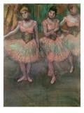 Dancers Wearing Salmon Coloured Skirts Giclee Print by Edgar Degas