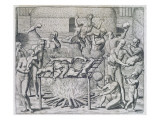 Cannibal Feast, Engraved by Theodor De Bry Giclee Print by John White