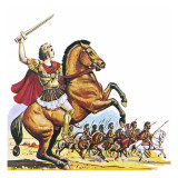 Alexander the Great on Bucephalus Giclee Print by  English School