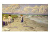 Girls Preparing to Bathe on the Beach Giclee Print by Paul Fischer