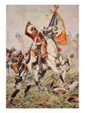 Sergeant Ewart Capturing the Eagle at Waterloo Premium Giclee Print by William Barnes Wollen