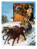 Edward Chancellor in a Sleigh on the Way to Moscow Giclee Print by Clive Uptton