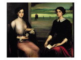 Portrait of Angeles and Fuensanta Giclee Print by Julio Romero de Torres