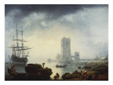 A Mediterranean Harbour Scene: Morning, 1745 Gicl&#233;e-Druck von Claude-Joseph Vernet